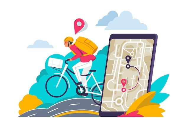 シティナビゲーションのコンセプト。スマートフォンやノートパソコンで都市地図のルートを探している漫画旅行者