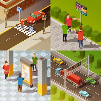 City navigation isometric composition