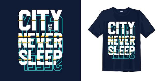 都市は決して眠らない、未来的なグリッチスタイルのnyc tシャツデザイン