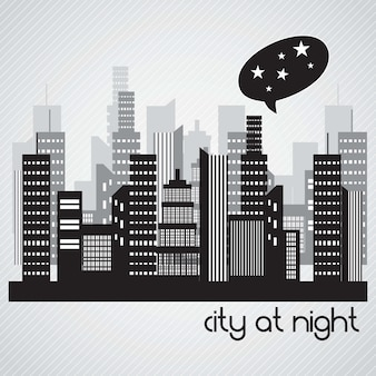City at night landscape on grey background