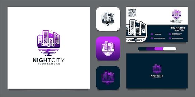 Ночной город логотип и шаблон визитной карточки premium векторы