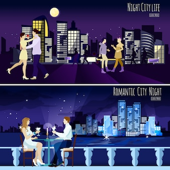 City nightscape background banners set
