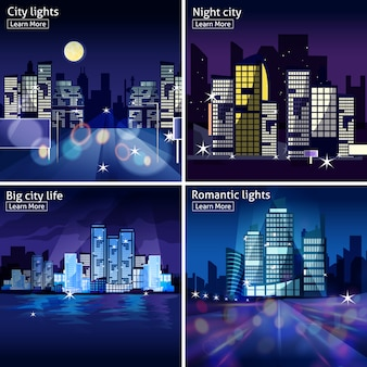City nightscape icon set