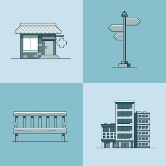 シティオブジェクトベンチ看板建築薬局ドラッグストアホテルビルセット