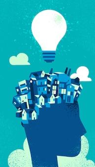 City on human head with light bulb