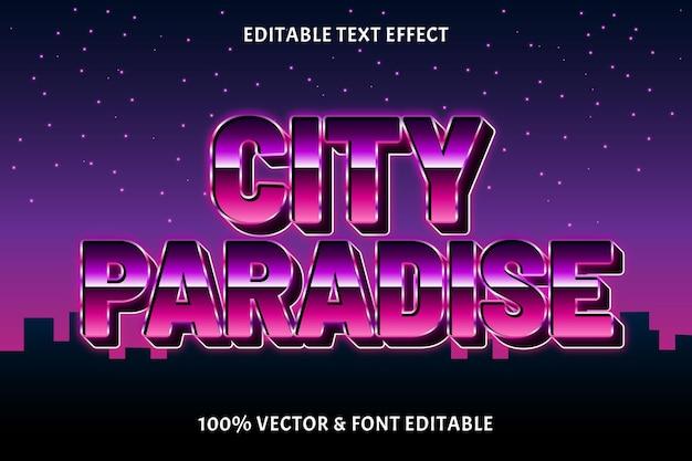 도시 낙원 편집 가능한 텍스트 효과 복고 스타일
