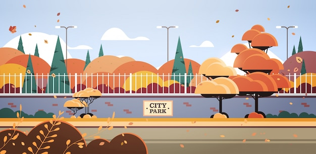 City park banner on fence beautiful autumn scenic landscape background horizontal