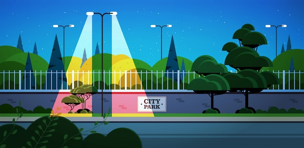 City park banner on fence beautiful night landscape background horizontal