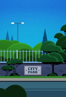 City park banner on fence beautiful night landscape background vertical