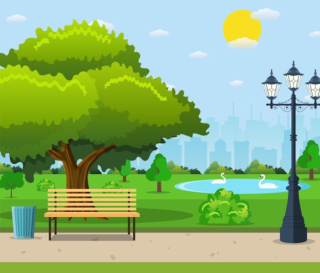 City park bench under a big green tree and lantern with urban landscape.