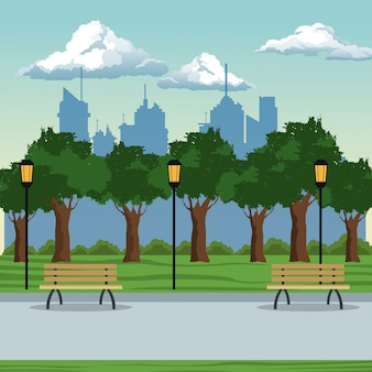 City park brench lamp postlight trees