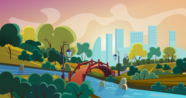 City park cartoon panorama with old style bridge above river and skyscrappers on horizon