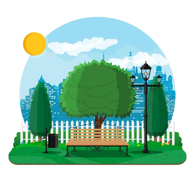 City park concept, wooden bench, street lamp waste bin in square. cityscape with buildings and trees