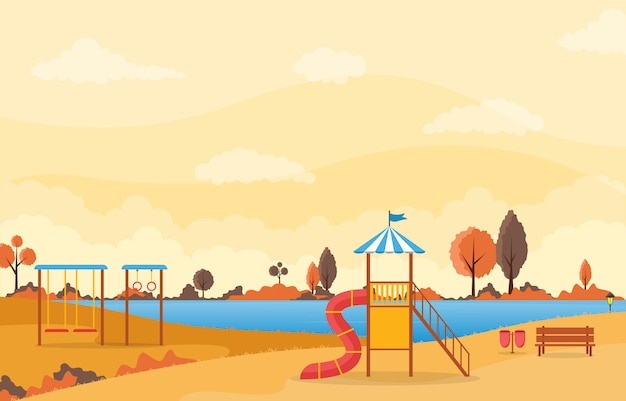 City park in fall autumn with kid playground playing equipment illustration