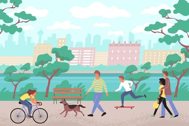Parco cittadino piatto con persone che camminano lungo l'argine con skateboard per cani e illustrazione di biciclette