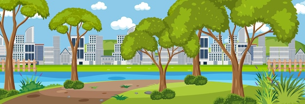 City park horizontal scene with cityscape background at day time