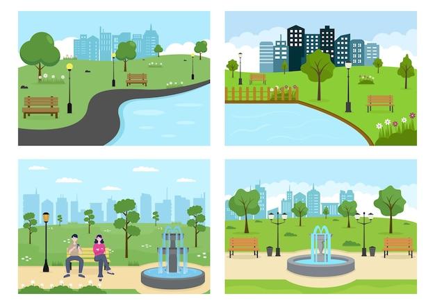 녹색 나무와 잔디와 스포츠, 휴식, 재생 또는 레크리에이션을하는 사람들을위한 도시 공원 그림. 풍경 도시 배경
