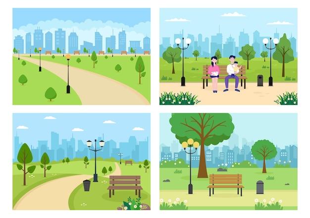 緑の木と芝生でスポーツ、リラックス、遊び、またはレクリエーションをしている人々のための都市公園のイラスト。風景都市の背景
