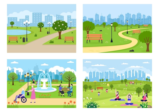City park illustration for people doing sport, relaxing, playing or recreation with green tree and lawn. scenery urban background