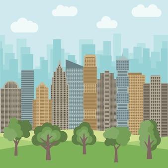高層ビルを背景にした都市公園。ベクトルイラスト