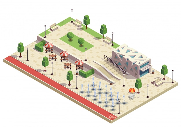 City park infrastructure facilities isometric composition with dry fountains outdoor cafe furniture modern public building