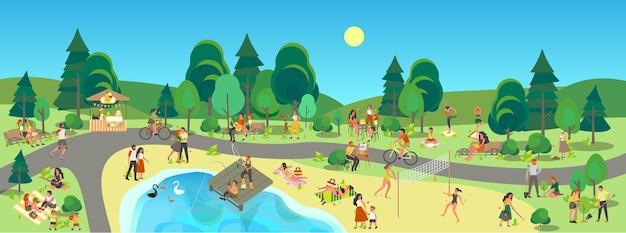 도시 공원 풍경. 사람들은 야외에서 스포츠를 즐기고 도시 공원에서 휴식을 취합니다. 여름 활동, 공원에서 피크닉. 푸른 하늘에있는 여름 풍경입니다.