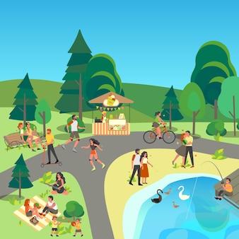 都市公園の風景です。外にいること、スポーツをすること、都市公園で休むことを楽しむ人々。夏のアクティビティ、公園でのピクニック。青い空と夏の風景。