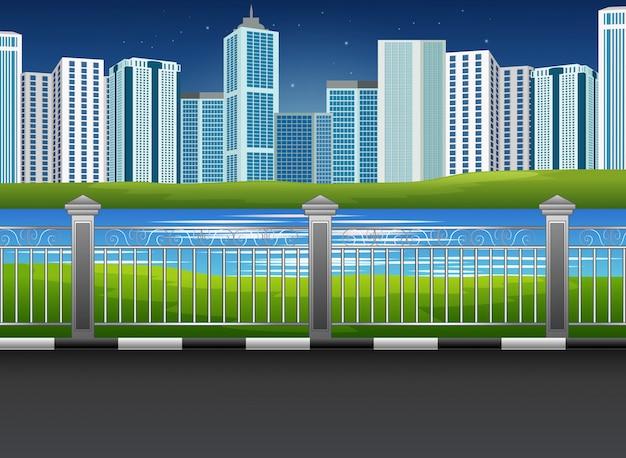 Городской парк пейзаж с рекой и городской фон