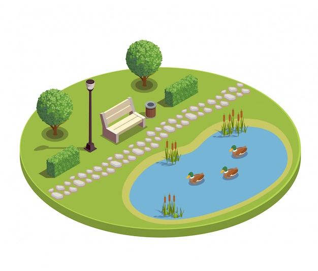 City park recreational area round isometric element with bench trees bushes pond plants reeds ducklings illustration