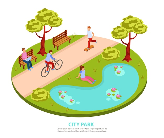 池のそばに座っているラップトップで作業しているスケートボードサイクリングの人々と都市公園のラウンドアイソメトリック構成