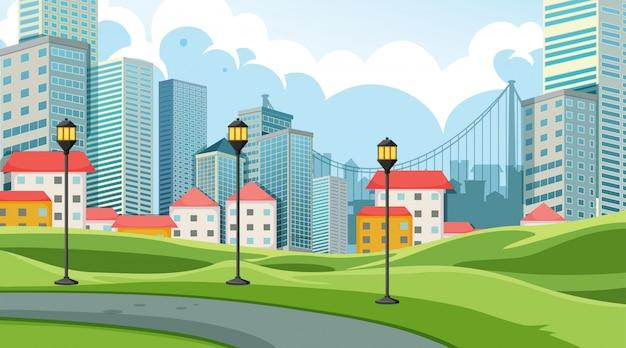 City in park scene