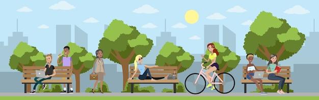 都市公園セット。周りの緑の木々、自転車に乗ったり、散歩したり、ベンチに座ったりして、人々は自然の中でリラックスします。図