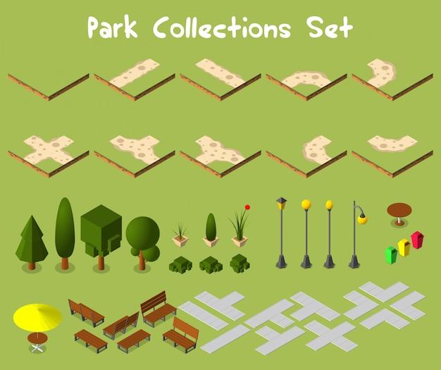Городской парк с деревьями и мебелью