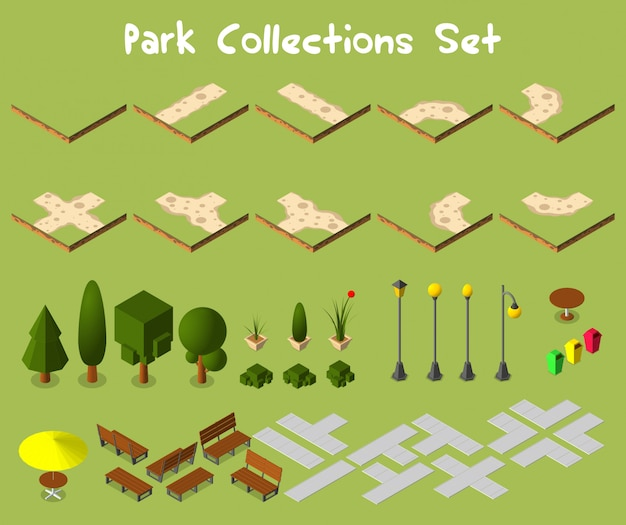 City park set with trees and furnitures