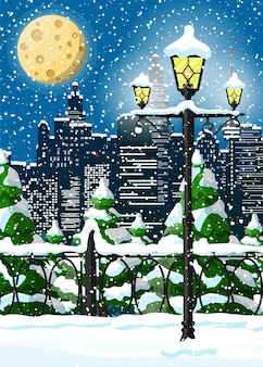 City park snow alley and buildings illustration