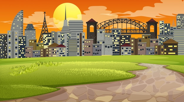 City park sunset scene or background