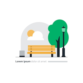 City park vector illustration, yellow bench in square