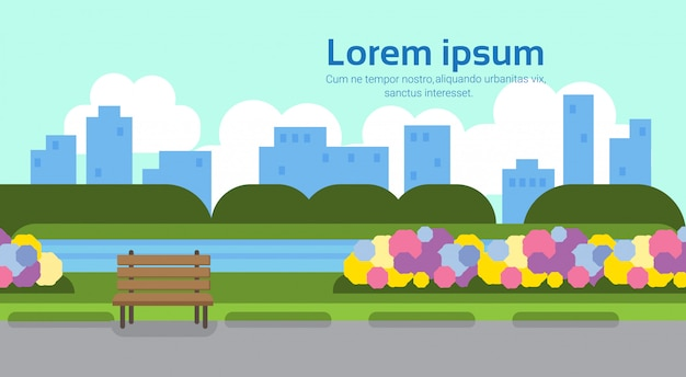City park view wooden bench green lawn flowers river trees sityscape template background horizontal copy space flat