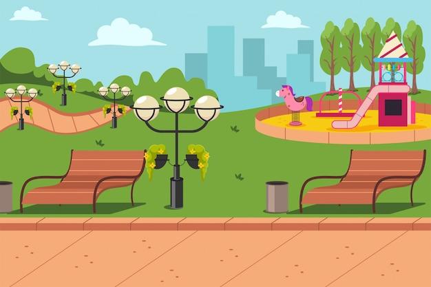 Городской парк со скамейкой, фонарями и детской площадкой. мультфильм плоский городской пейзаж иллюстрации.