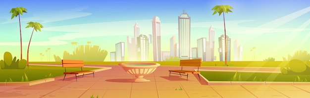 City park with benches and flowerpot summer scenery cityscape empty public place for walking and recreation with green grass palm trees and lawn urban garden cartoon  illustration