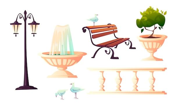 噴水、ベンチ、カモメがある都市公園