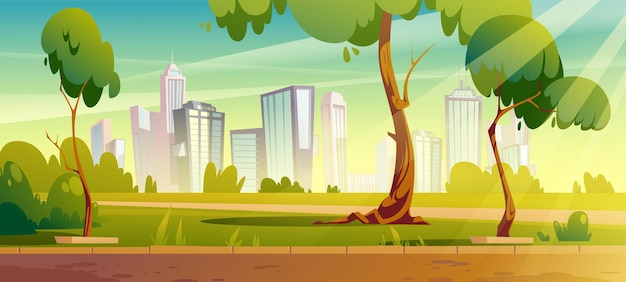 City park with green trees and lawn Free Vector