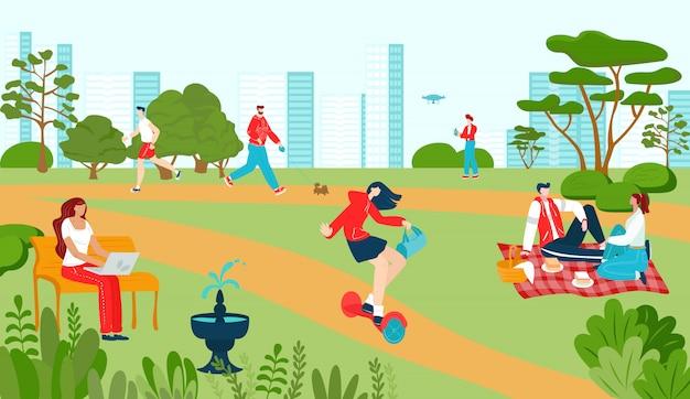 夏の人々のレクリエーション、通路の遊び場、アトラクションの噴水、ベンチの街並みフラットイラストの都市公園。