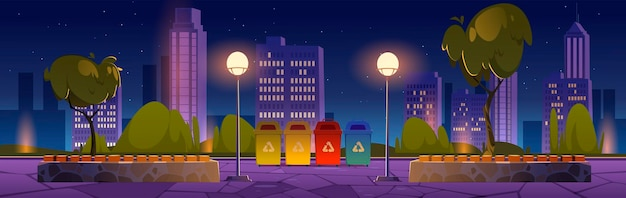 City park with recycle trash bins for separate garbage wooden benches and town buildings