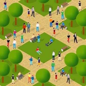 Городской парк с деревьями и гуляющими людьми, сцена образа жизни отдыхающих, городская изометрическая 3d-иллюстрация для индустрии дизайна и игр
