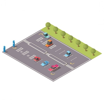 City parking with disabled spaces isometric vector
