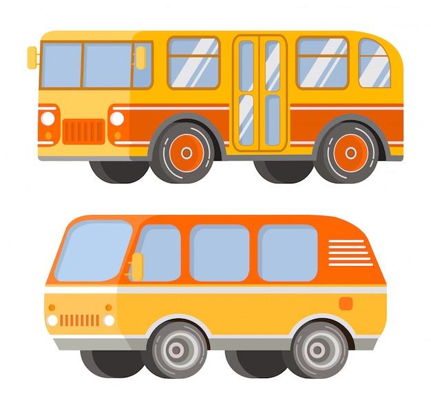 Городской пассажирский общественный транспорт. ретро старинный автобус и туристический фургон. автомобиль для поездок и путешествий.