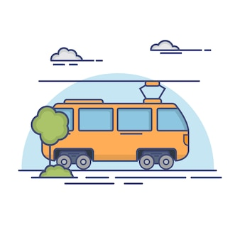 City passenger transport tram.