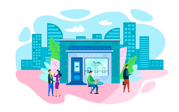 City people daily routine lifestyle flat cartoon