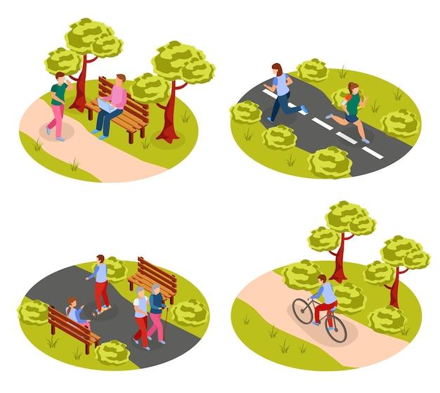 都市の人々の野外活動公園のイラストでウォーキングサイクリングジョギングと2ラウンドアイソメトリックコンセプト、